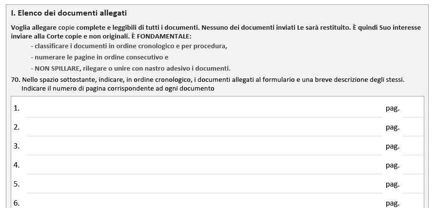 Elenco documenti allegati al ricorso CEDU